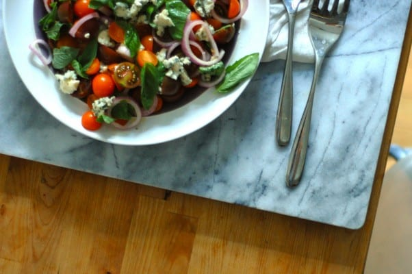 Tomato, Roquefort, and Red Onion Salad. A kicky, big-flavored salad to celebrate tomato season. From Blossom to Stem   Because Delicious http://www.blossomtostem.net